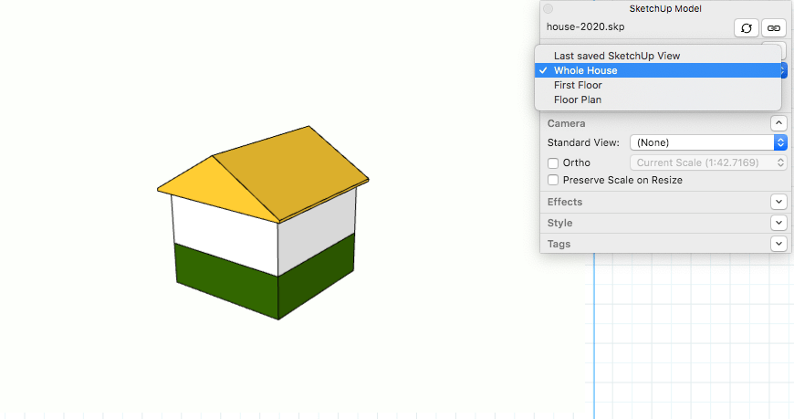 hight resolution of in layouts sketchup model panel select a scene from the drop down list
