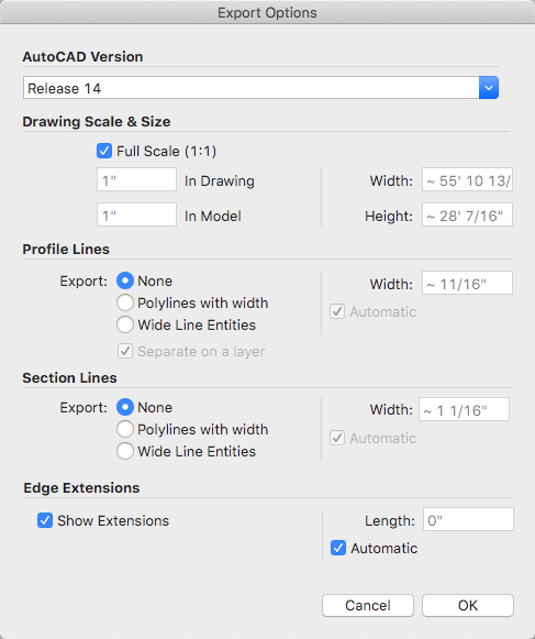 Line options for exporting a 2D CAD file from SketchUp for Mac OS X
