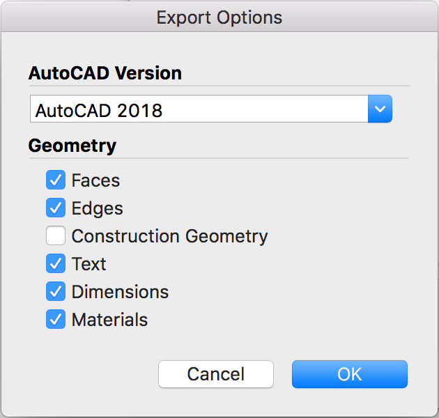 Options for exporting a 3D CAD file from SketchUp for Mac OS X