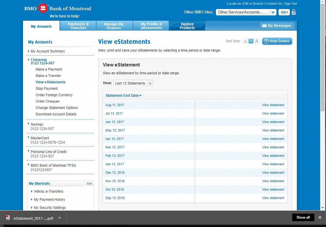 Bank Of Montreal Bank Statement Instructions Help Center