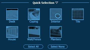 Pool Studio Materials Selecting Multiple Surfaces with Quick Selection