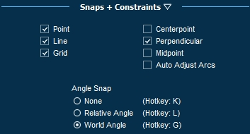 Pool Studio Snaps and Constraints Menu