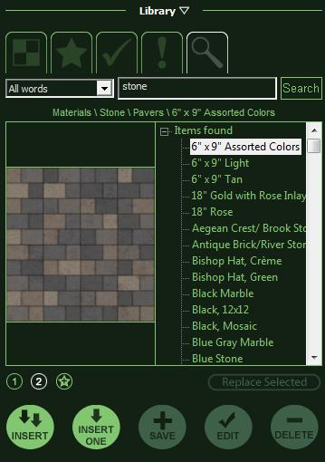 VizTerra Materials Library Search Tab
