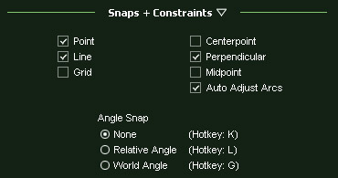 VizTerra Snaps and Constraints Menu