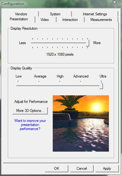 Pool Studio Adjusting Display Quality in the Configuration Menu
