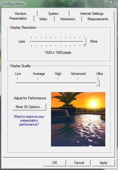 Pool Studio Adjusting Display Quality in the Configuration Menu