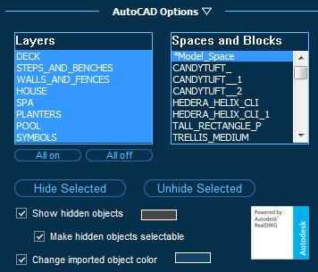 Pool Studio AutoCAD Options