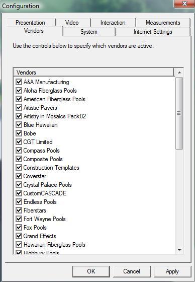 Pool Studio Configuration Vendors Tab
