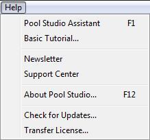 Pool Studio Help Menu Transfer License