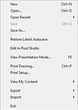 VizTerra Edit in Pool Studio File Menu