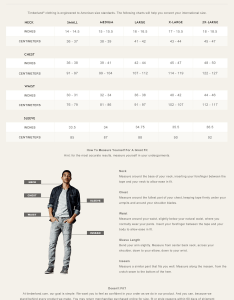 Men   clothing size chart also timberland rh help