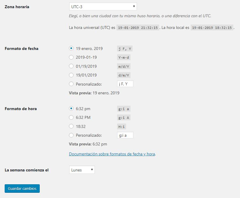 Configurar zona horaria y el formato de fecha y hora de tu