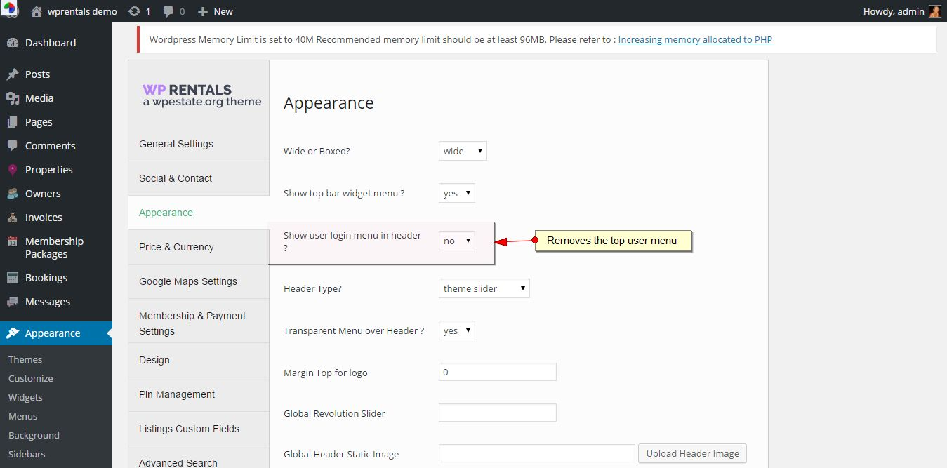 How to enable login in header. How to disable User Login