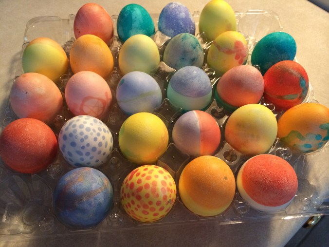 My two youngest sons (17 & 11) dyed these eggs yesterday, as is our tradition.