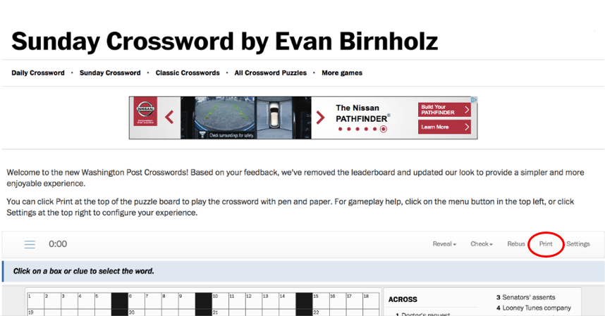 print the online crossword