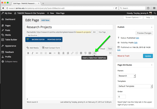 Button for inserting a table in the wordpress editor