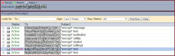List of encrypted messages