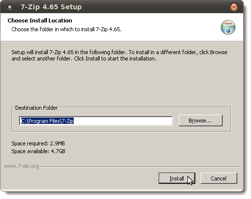 7-Zip Setup dialog box
