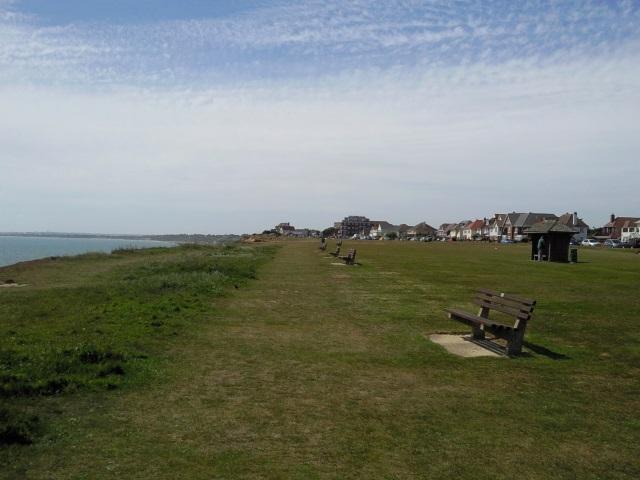 Clifftop benches in Barton on Sea