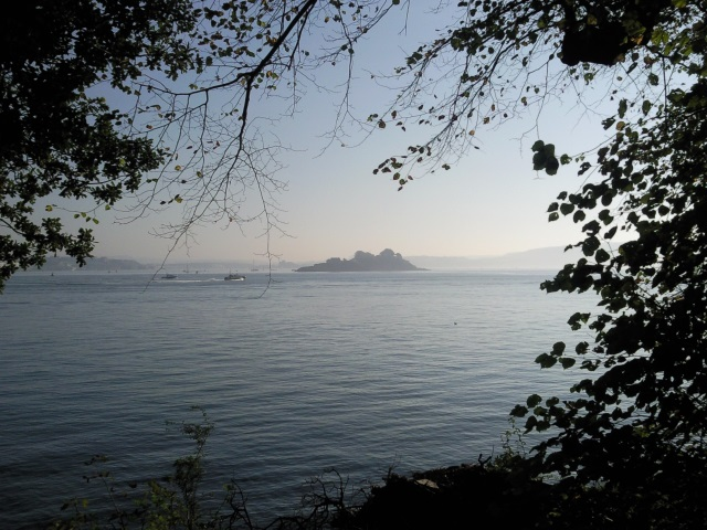 Drake's Island, veiled by haze