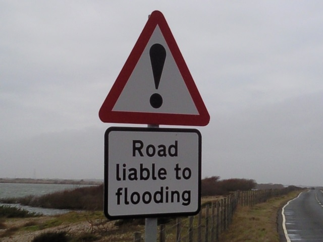'Road liable to Flooding' sign