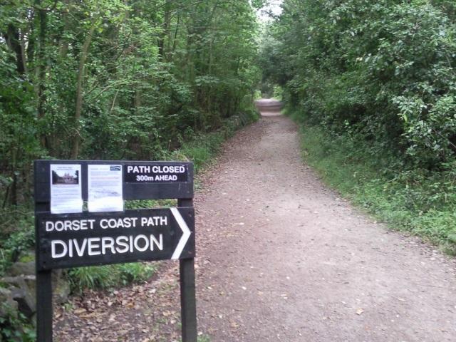 Sign: Dorset Coast Path Diversion.