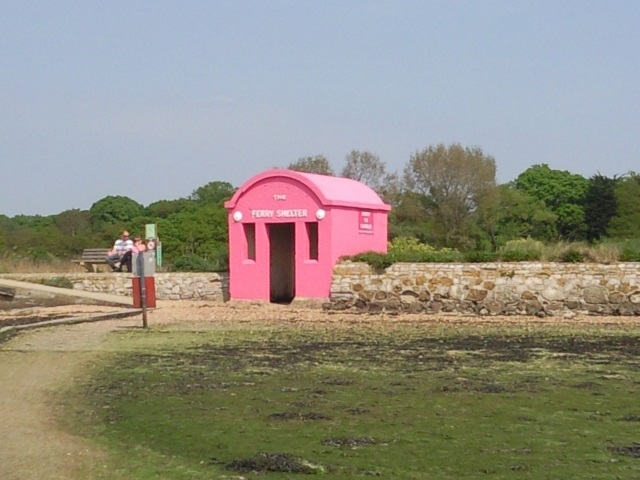 Passenger shelter for the Hamble Ferry - it is painted hot pink