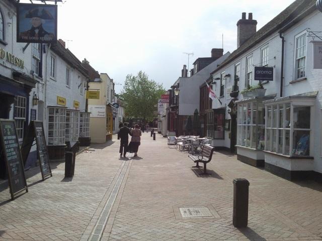 Pedestrianised street in Hythe village