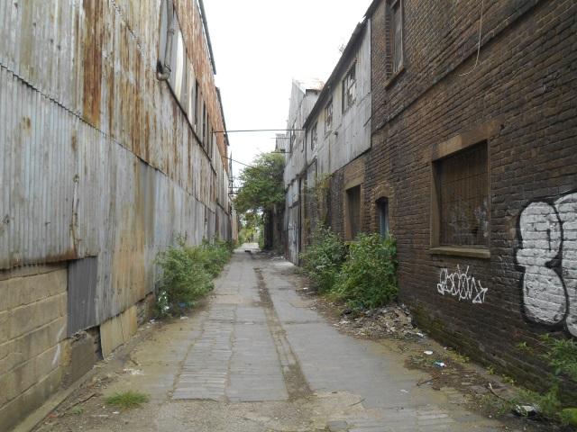 An industrial alleyway