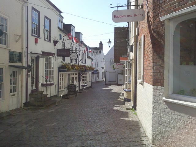 An old-fashioned cobbled street