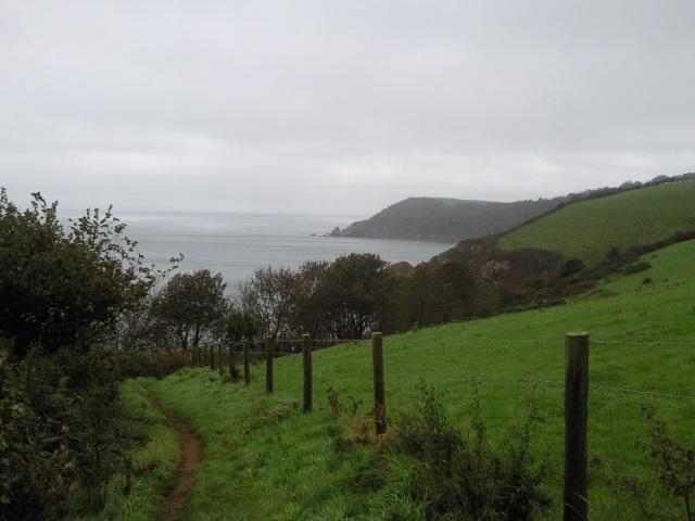 A coastal path heading down towards a cove