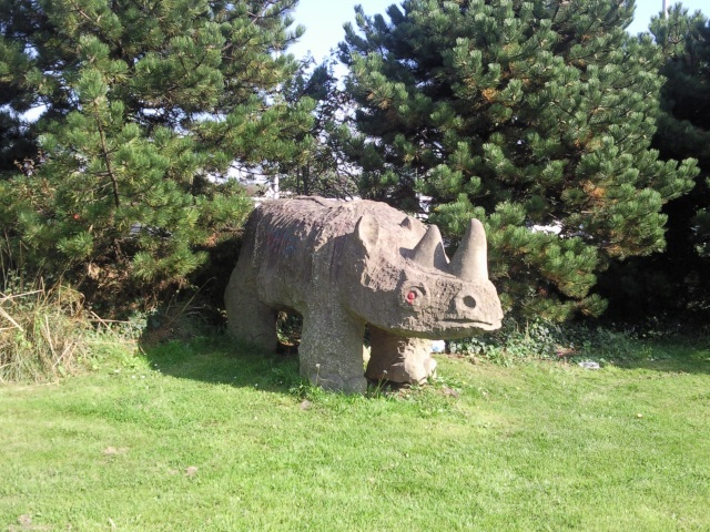 A sculpture of a woolly rhino