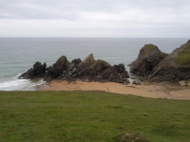 Rocks and beach at Soar Mill Cove