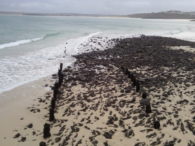 Stumps of St Ives' Victorian leisure pier
