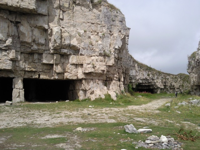 Winspit Quarry - square-mouthed caves in a cliff face