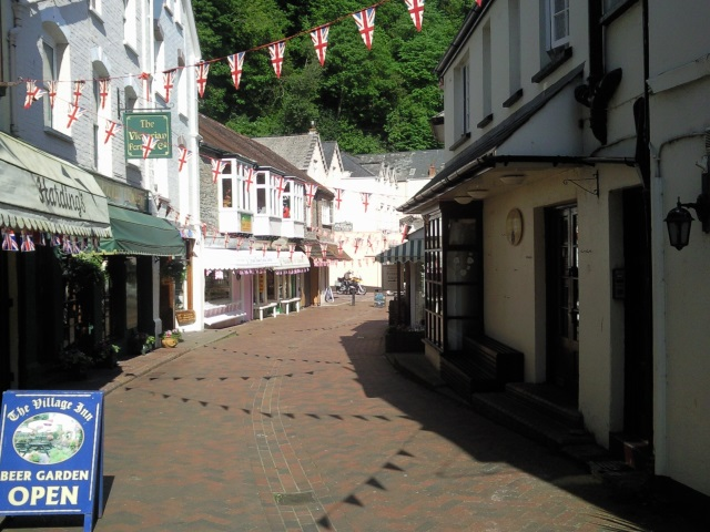 A street in Lynmouth, bedecked in Union Jack bunting