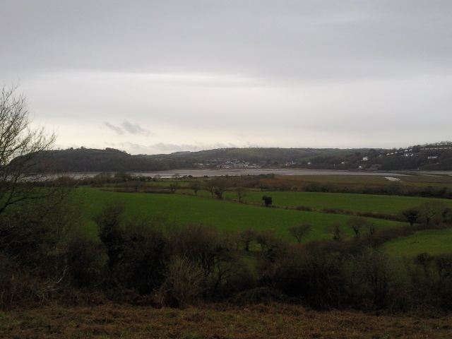 The River Taf with Lagharne on the far side