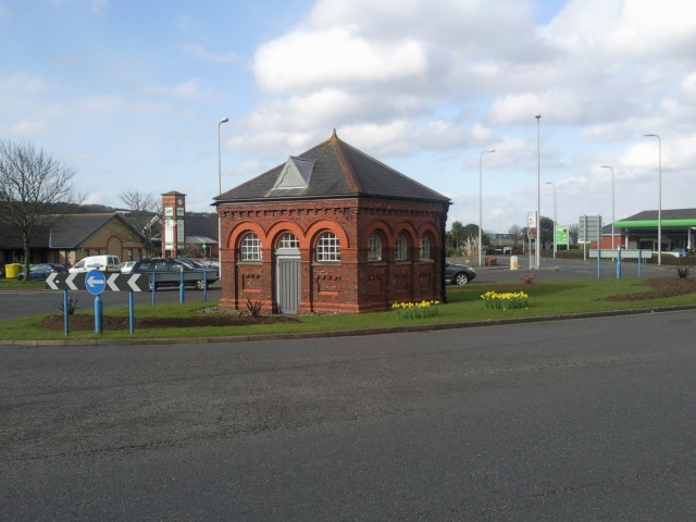 Pump house in centre of roundabout