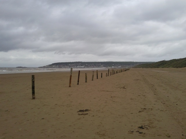 Vew up the beach to Weston-super-Mare from Uphill