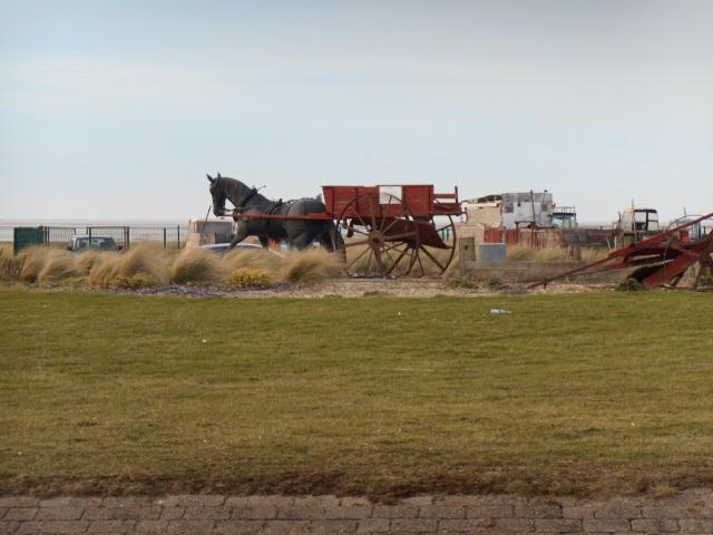 Shrimping Cart Sculpture