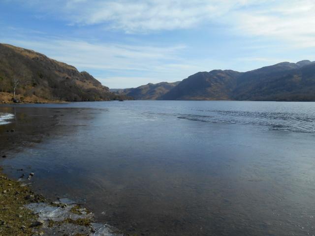 Ice on Loch Uisg's shoreline