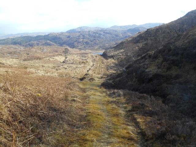Track leading down to Lochan na Glaice