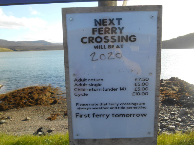 Sign: Next Ferry Crossing will be at 2020