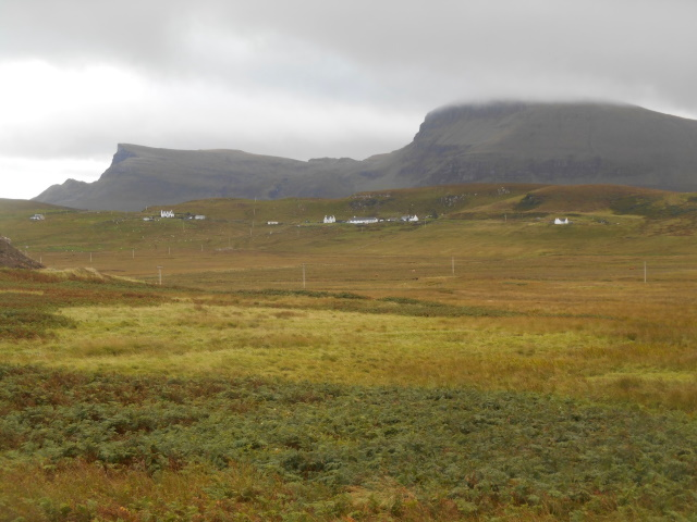 The Quiraing about to be hidden by rain