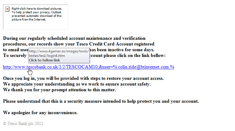 Tesco Bank Phishing Email 1