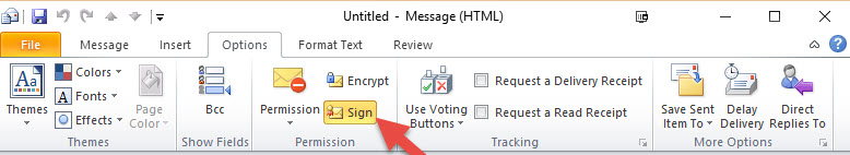 Digital Signature - Message Options Ribbon