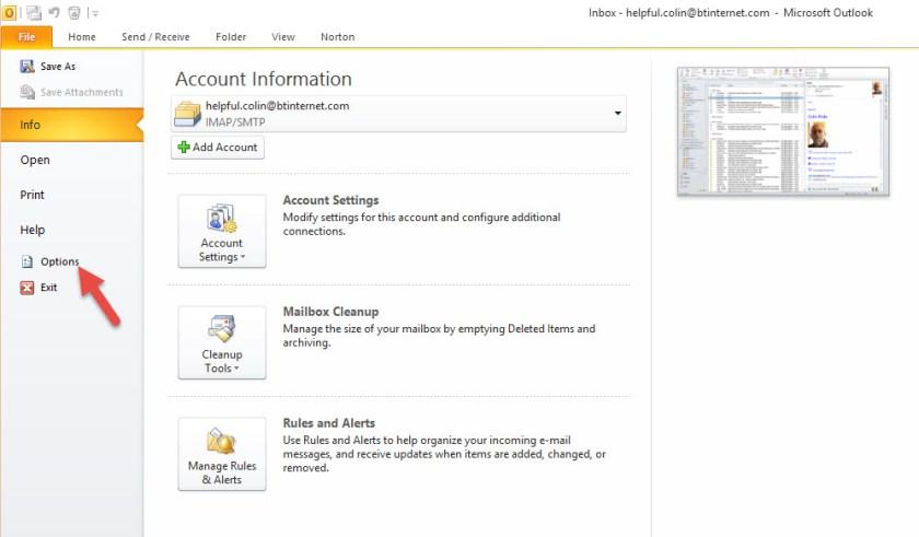 Digital Signature - Outlook File Menu