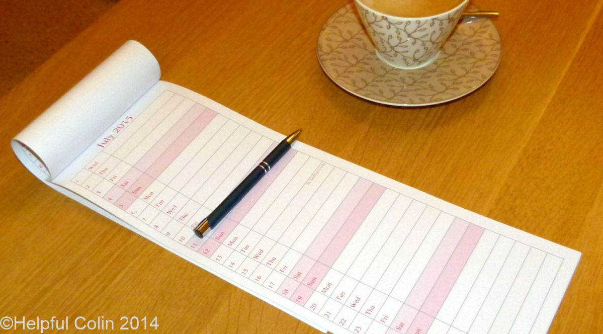 Print A Long Thin Calendar For Any Year