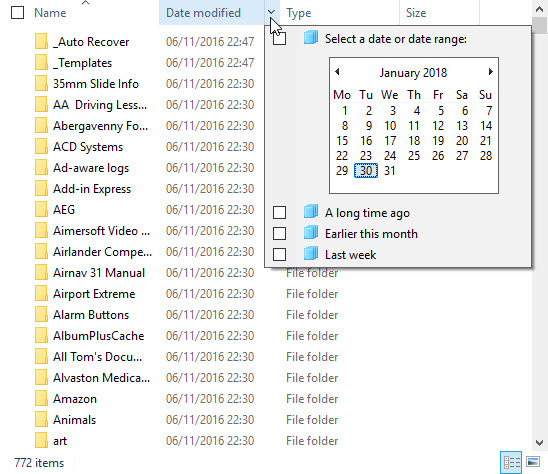 Search by date folder modified