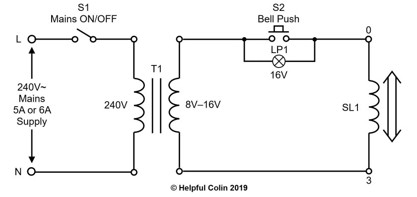 Schematic of A Door Chime With Illuminated Bell Push Powered via A Mains Transformer